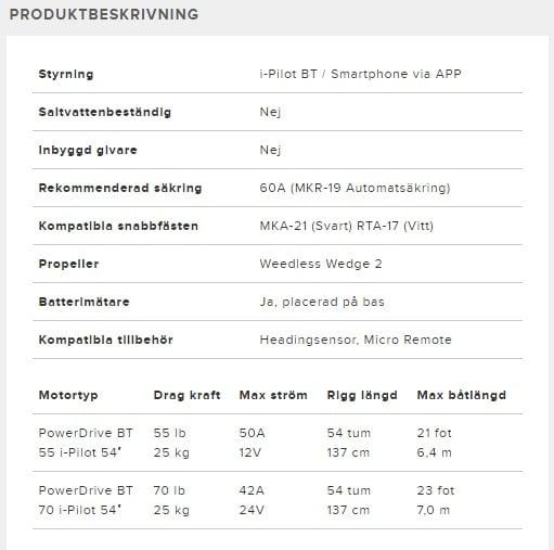 "Minn kota PowerDrive BT 70 IP 54"" frontmonterad elmotor"