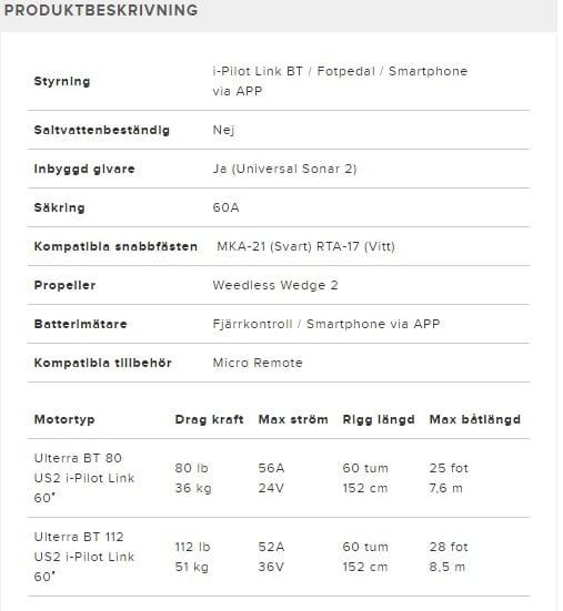 Minn kota ULTERRA BT IP-LINK, PEDAL, US2 elmotor